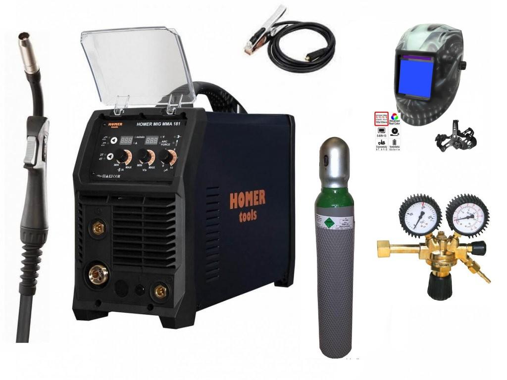 HOMER MIG MMA 181 Varianta: SET 26: svářečka s výbavou v popisu stroje + kukla profi + RV Argon + lahev Argon plná výhodný SET - další příslušenství ZDARMA