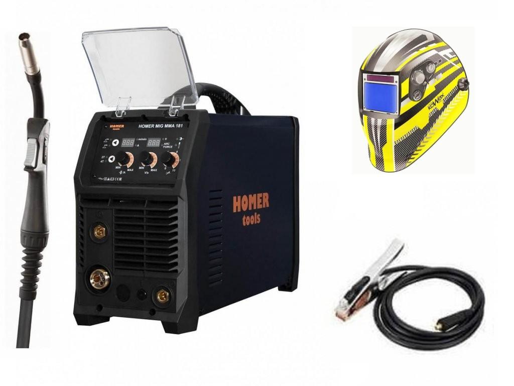 HOMER MIG MMA 181 Varianta: SET 5: svářečka s výbavou v popisu stroje + kukla expert 730ARC++ výhodný SET - další příslušenství ZDARMA