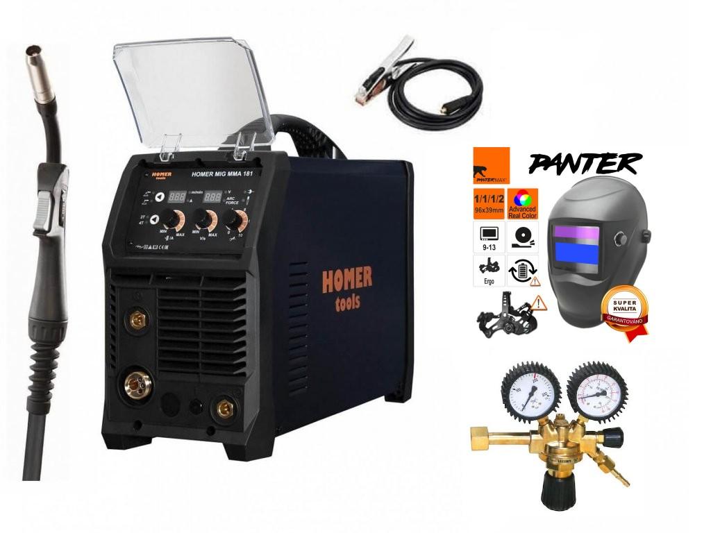 HOMER MIG MMA 181 Varianta: SET 8: svářečka s výbavou v popisu stroje + RV CO2 + kukla eco Panter výhodný SET - další příslušenství ZDARMA