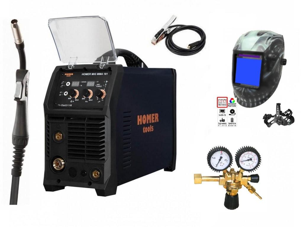 HOMER MIG MMA 181 Varianta: SET 10: svářečka s výbavou v popisu stroje + RV CO2 + kukla profi Predátor výhodný SET - další příslušenství ZDARMA