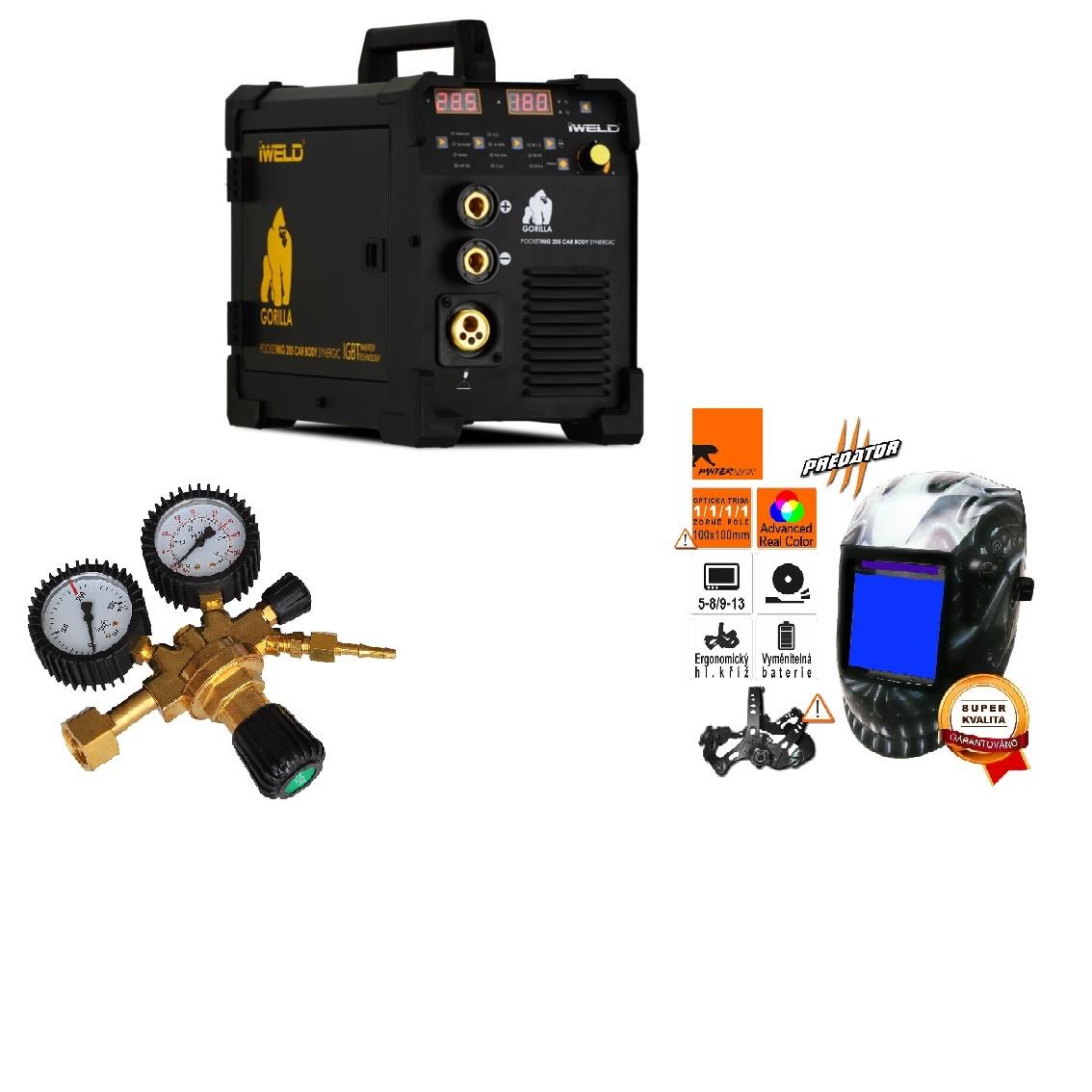 Gorilla PocketMig 205 Varianta: SET 10: svářečka s výbavou v popisu stroje + RV CO2 + kukla profi Predátor výhodný SET - další příslušenství ZDARMA