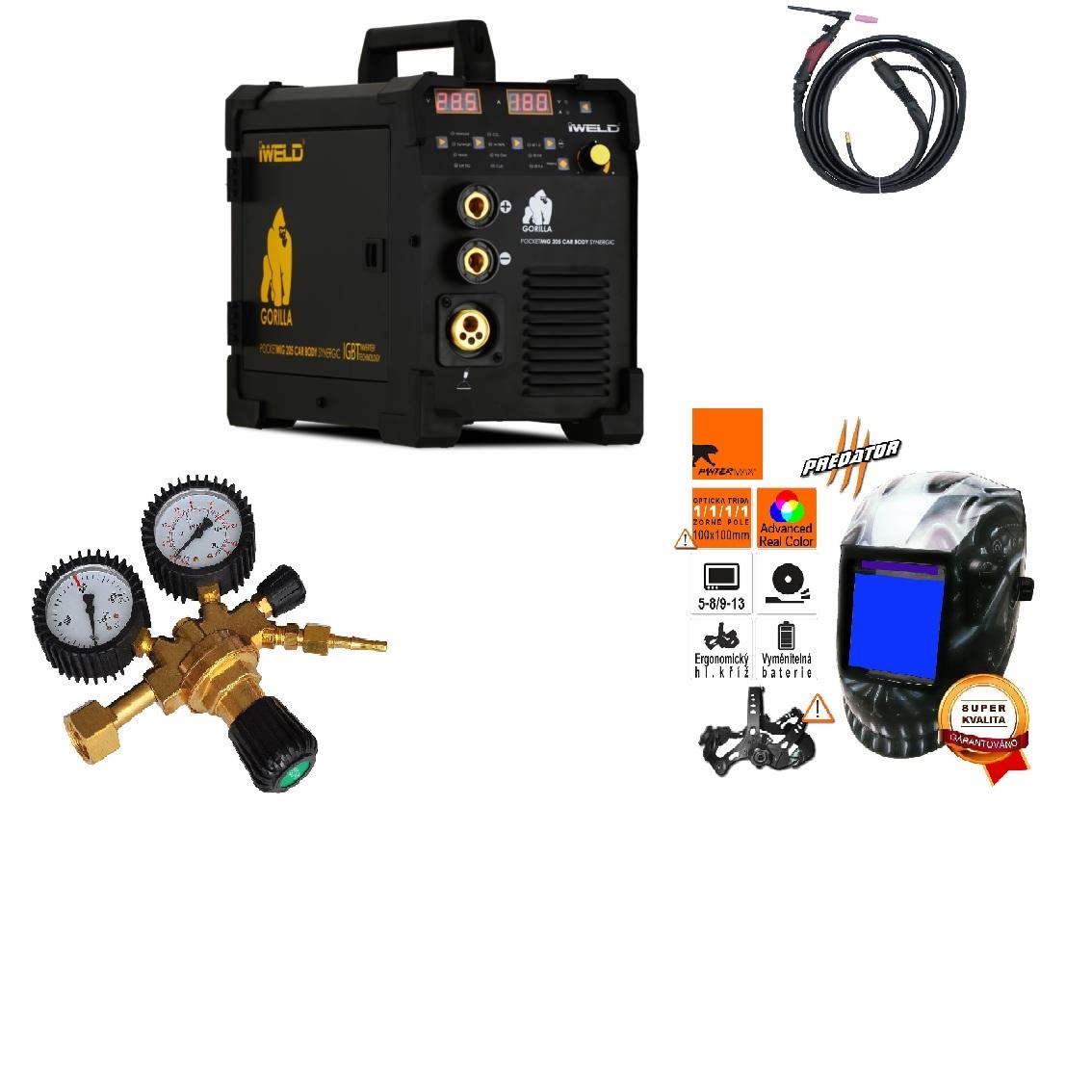 Gorilla PocketMig 205 Varianta: SET 3: svářečka s výbavou v popisu stroje + kukla profi Predátor + RV Argon + hořák TIG 4 metry výhodný SET - další příslušenství ZDARMA