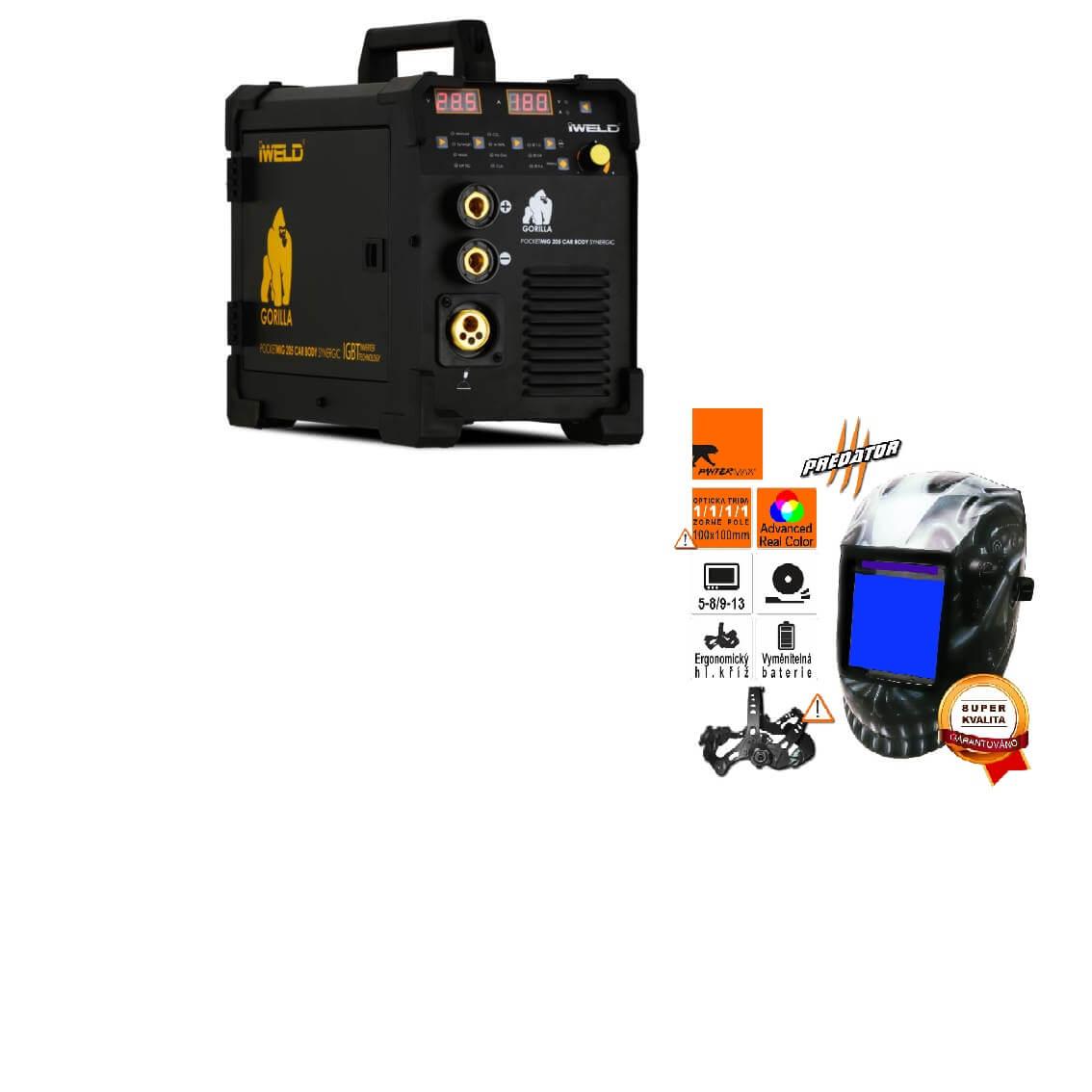 Gorilla PocketMig 205 Varianta: SET 2: svářečka s výbavou v popisu stroje + kukla profi Predátor výhodný SET - další příslušenství ZDARMA