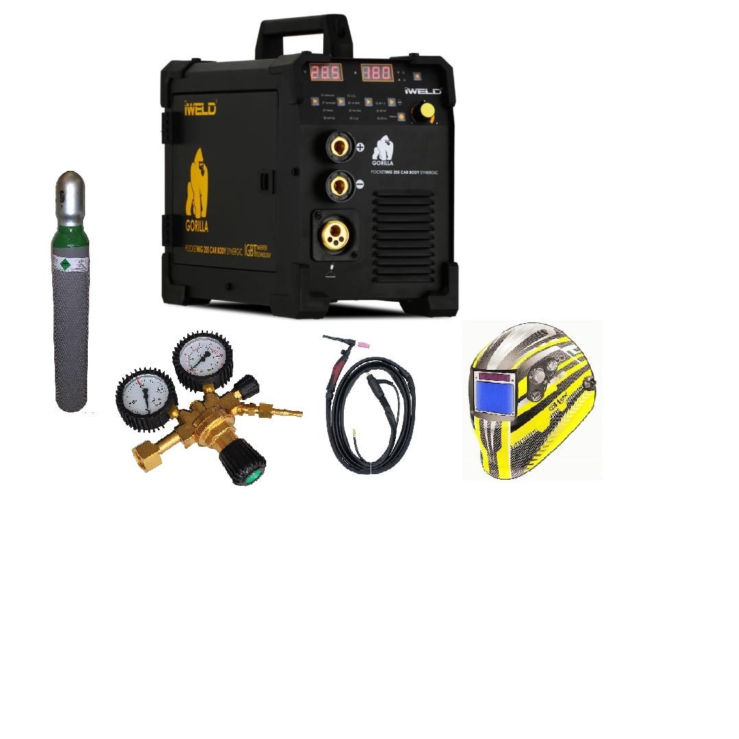 Gorilla PocketMig 205 Varianta: SET 7: svářečka s výbavou v popisu stroje + kukla expert 730ARC++ + RV Argon + hořák TIG 4 metry + lahev Argon výhodný SET - další příslušenství ZDARMA