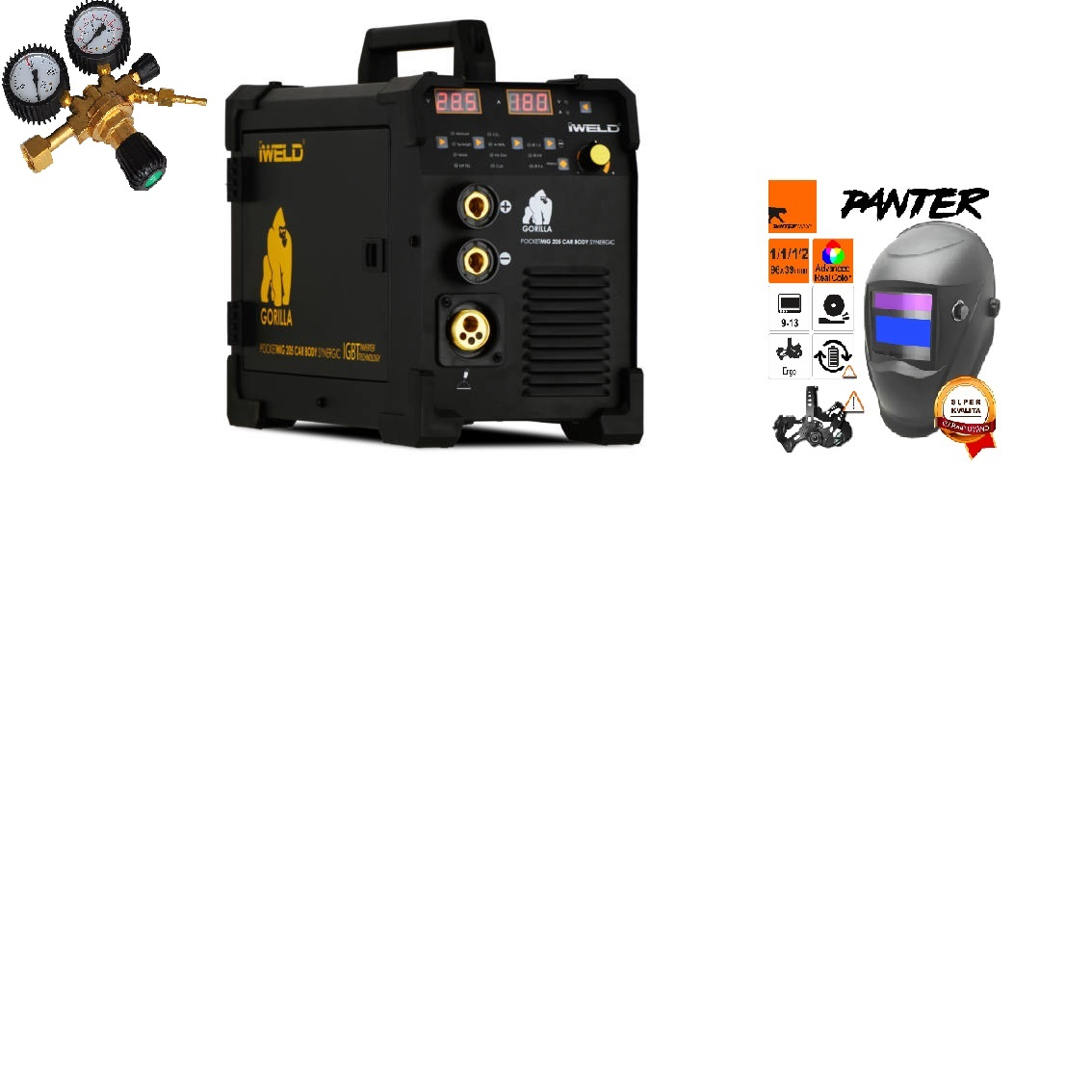 Gorilla PocketMig 205 Varianta: SET 8: svářečka s výbavou v popisu stroje + RV CO2 + kukla eco Panter výhodný SET - další příslušenství ZDARMA
