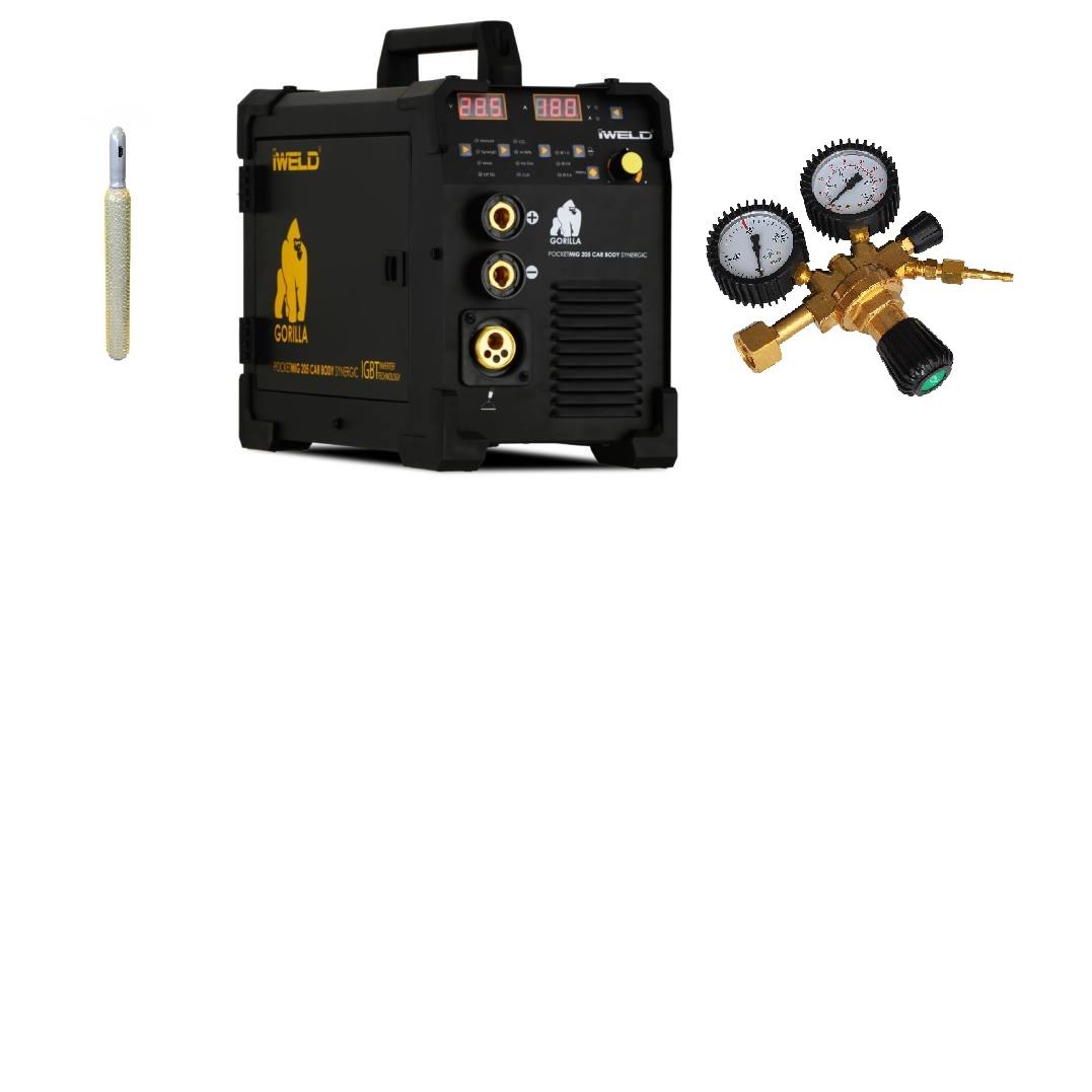 Gorilla PocketMig 205 Varianta: SET 21: svářečka s výbavou v popisu stroje + RV CO2 + lahev CO2 plná výhodný SET - další příslušenství ZDARMA