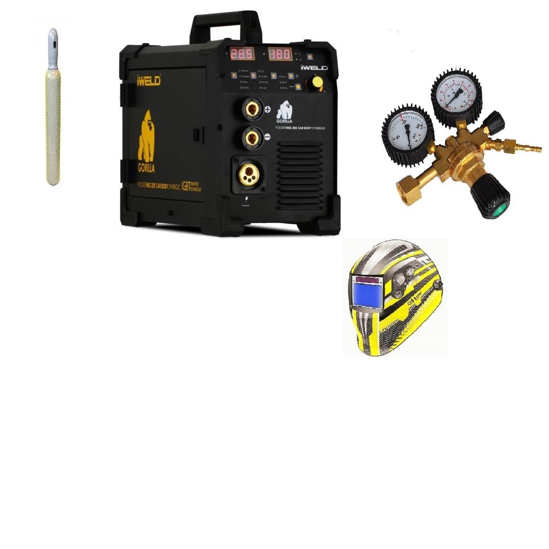 Gorilla PocketMig 205 Varianta: SET 23: svářečka s výbavou v popisu stroje + kukla expert + RV CO2 + lahev CO2 plná výhodný SET - další příslušenství ZDARMA