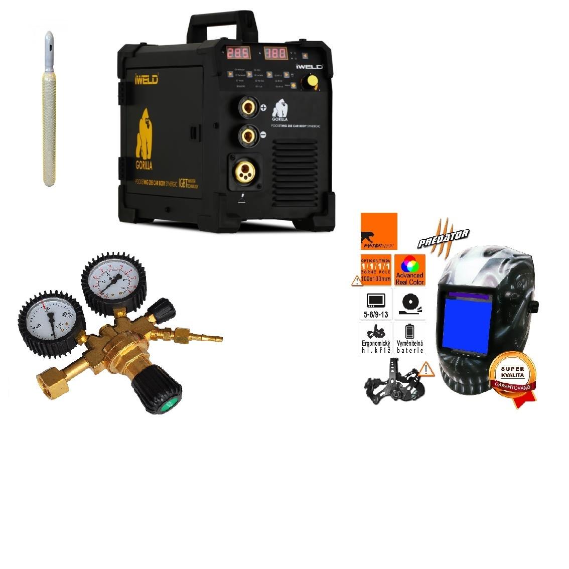 Gorilla PocketMig 205 Varianta: SET 22: svářečka s výbavou v popisu stroje + kukla profi Predátor + RV CO2 + lahev CO2 plná výhodný SET - další příslušenství ZDARMA
