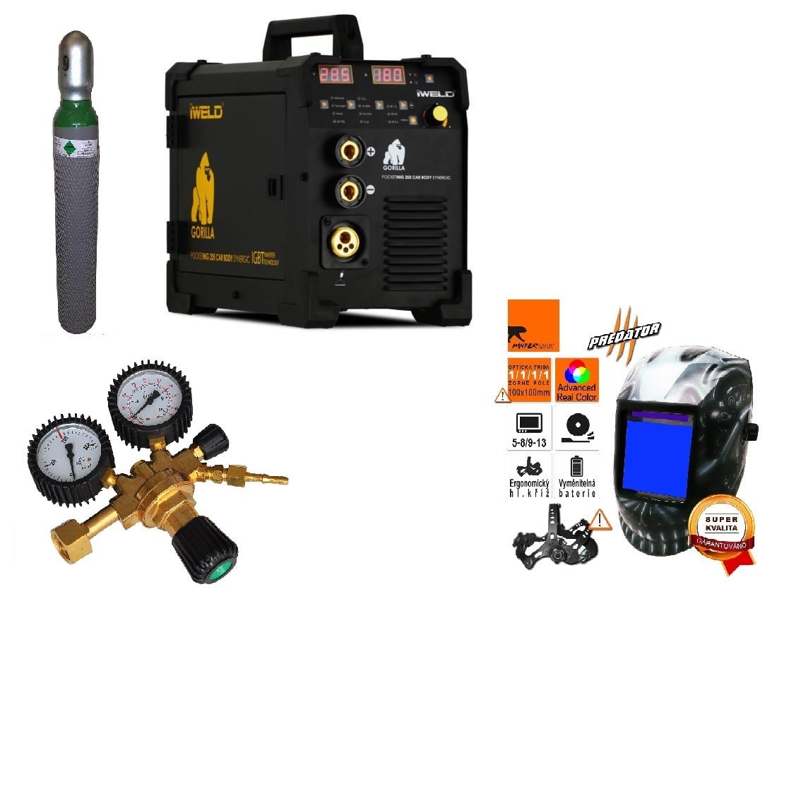 Gorilla PocketMig 205 Varianta: SET 26: svářečka s výbavou v popisu stroje + kukla profi + RV Argon + lahev Argon plná výhodný SET - další příslušenství ZDARMA