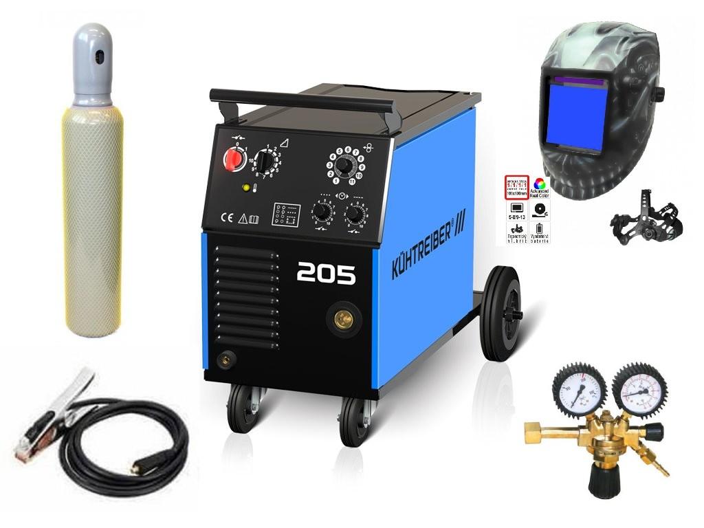 KIT 205 Varianta: SET 22: svářečka s výbavou v popisu stroje + kukla profi Predátor + RV CO2 + lahev CO2 plná výhodný SET - další příslušenství ZDARMA
