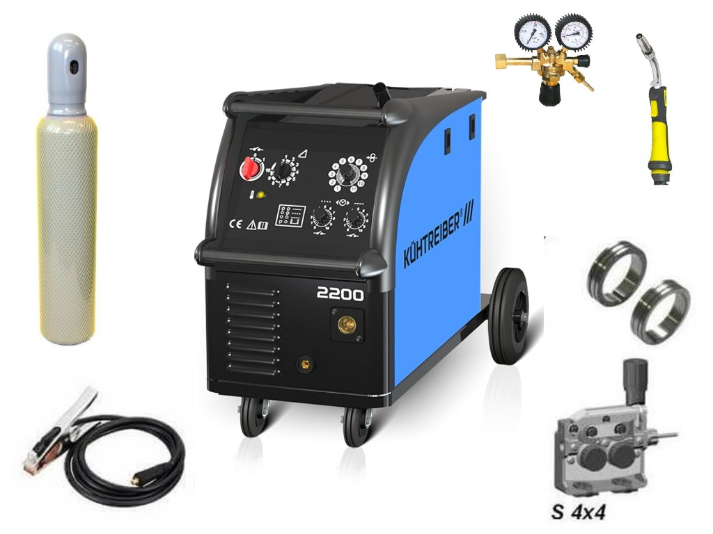 KIT 2200 Varianta: SET 20: svářečka s výbavou v popisu stroje + hořák CO2 + RV CO2 + lahev CO2 plná výhodný SET - další příslušenství ZDARMA