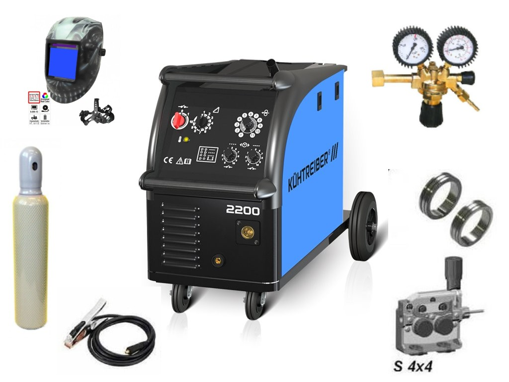 KIT 2200 Varianta: SET 22: svářečka s výbavou v popisu stroje + kukla profi Predátor + RV CO2 + lahev CO2 plná výhodný SET - další příslušenství ZDARMA