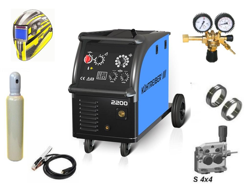 KIT 2200 Varianta: SET 23: svářečka s výbavou v popisu stroje + kukla expert + RV CO2 + lahev CO2 plná výhodný SET - další příslušenství ZDARMA