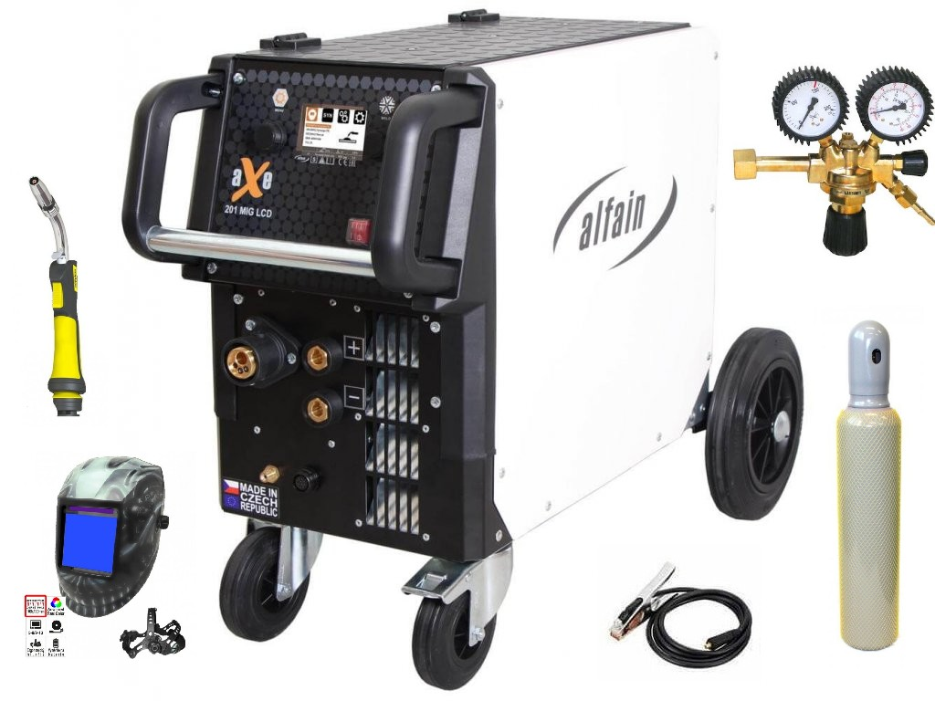 aXe 201 MIG LCD Synergy Varianta: SET 37: svářečka s výbavou v popisu stroje + kukla profi Predátor + RV CO2 + hořák CO2 + lahev CO2 5.0318/SET37 výhodný SET - další příslušenství ZDARMA