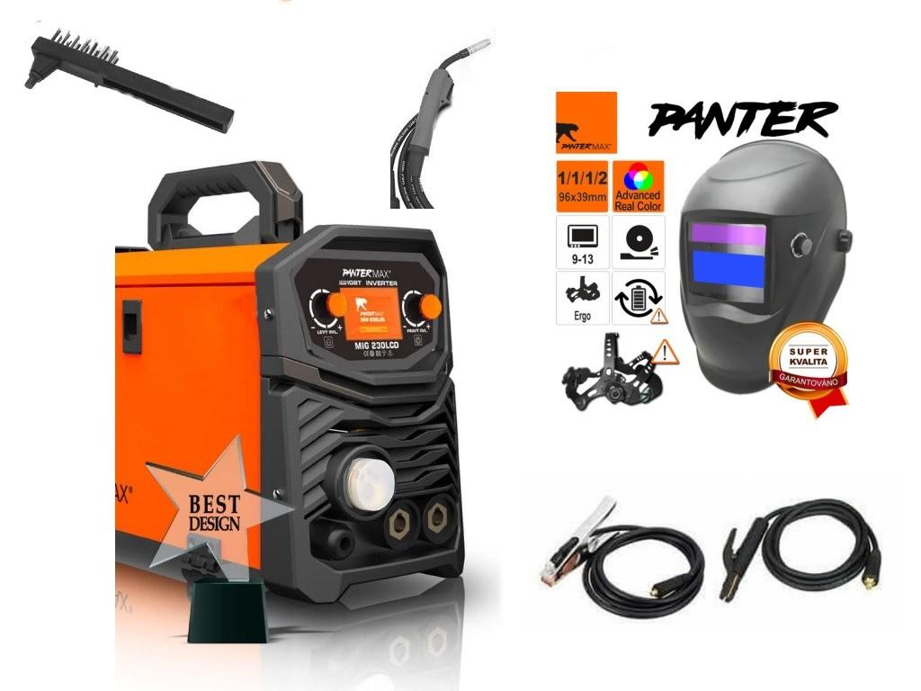 Pantermax 230LCD Synergy Varianta: SET 1: svářečka s výbavou v popisu stroje + kukla eco Panter PMMIG230LCD výhodný SET - další příslušenství ZDARMA