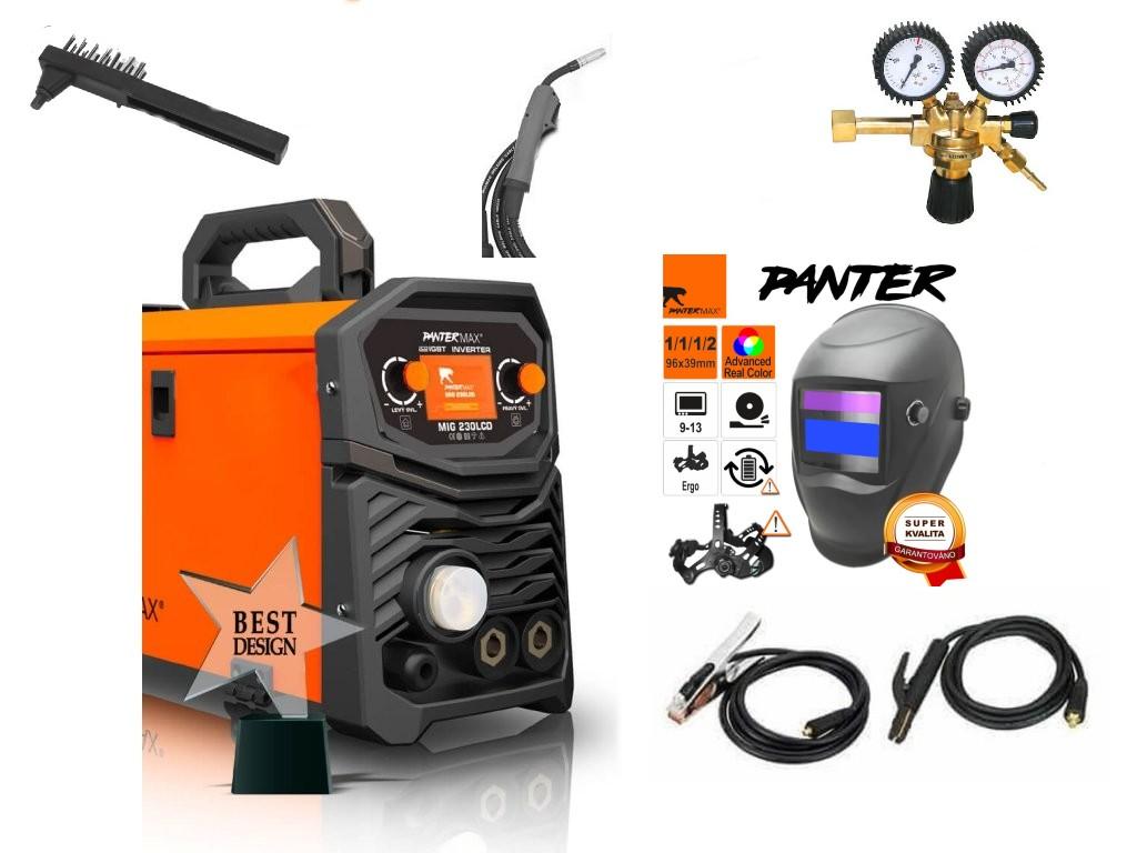 Pantermax 230LCD Synergy Varianta: SET 8: svářečka s výbavou v popisu stroje + RV CO2 + kukla eco Panter PMMIG230LCD výhodný SET - další příslušenství ZDARMA