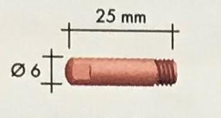 Abicor Binzel Náhradní díly hořák CO2 150A Díly hořák CO2 150A: Průvlak CuCrZr M6 0,6