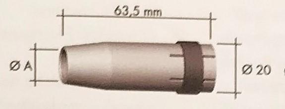 Abicor Binzel Náhradní díly hořák CO2 240A Díly hořák CO2 240A: Hubice Válcová / cylindrická MB 24 A=17