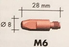 Abicor Binzel Náhradní díly hořák CO2 240A Díly hořák CO2 240A: Průvlak masiv M6 0,8
