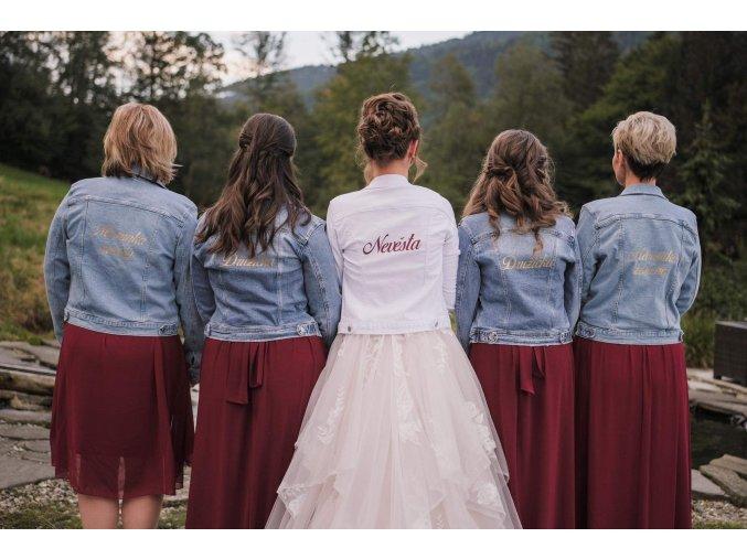 Džínová bunda bílá s textem na přání