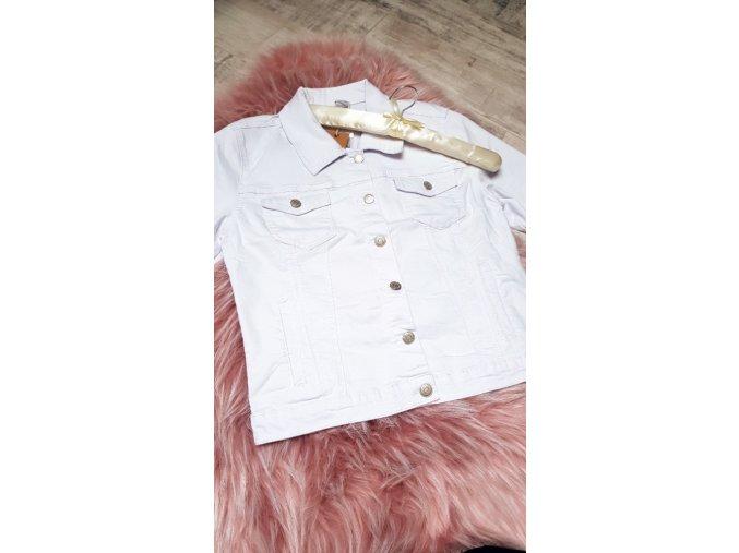 Džínová bílá bunda bez potisku