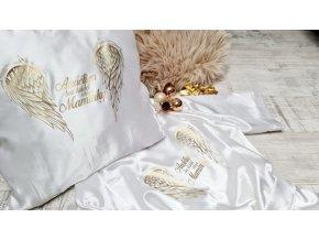 Saténové polštářky s texty ( křídla)