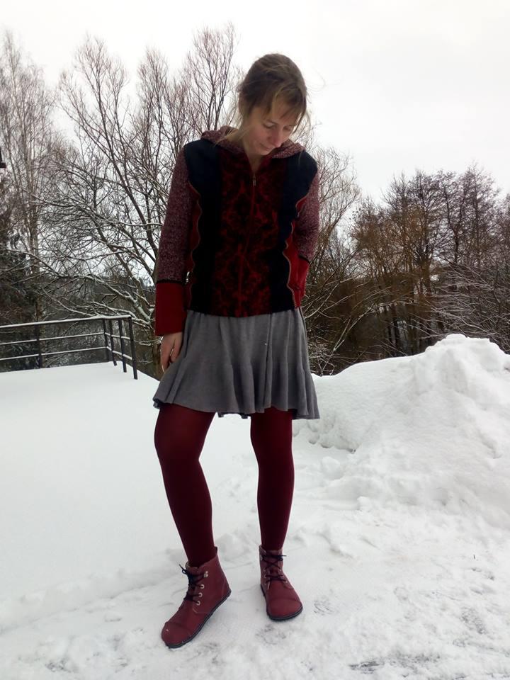 Vínově červené polárky POMPEI, teplé bosé boty*