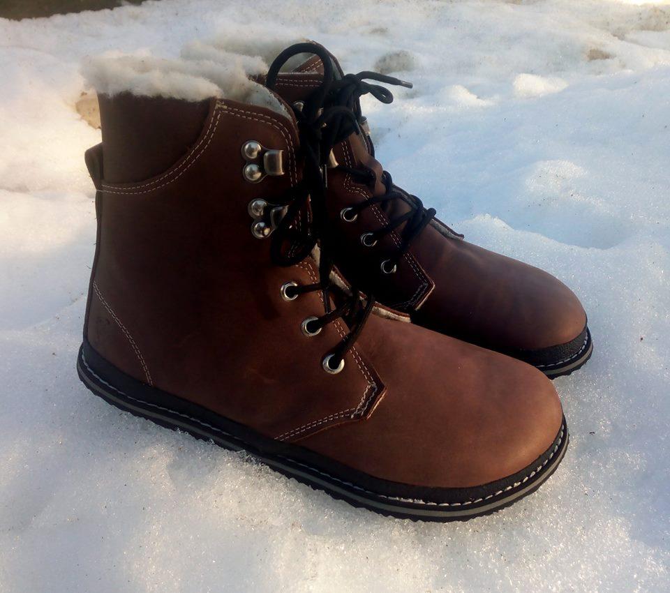 Vysoké zimní kožené boty s beránkem:-) jsou vhodné do terénu i do města...