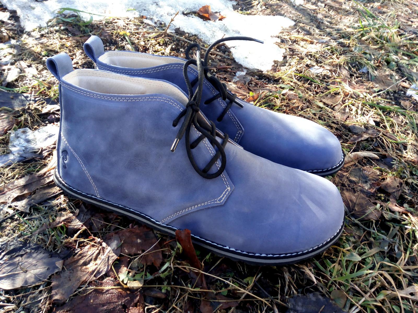 Mořsky modré ktníčkové HAPPY STEPS+ - barefootové botky s izolační mezivrstvou