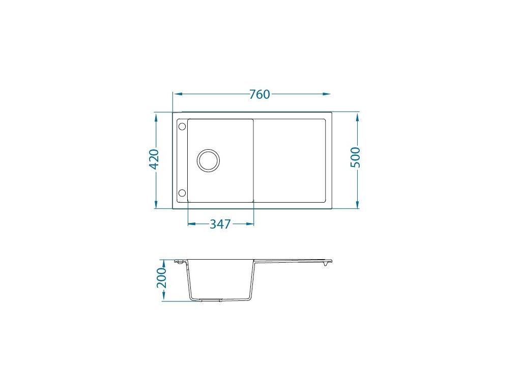 Granitový dřez Alveus FORMIC 30 Bílá CUSTOM sifon Bronz