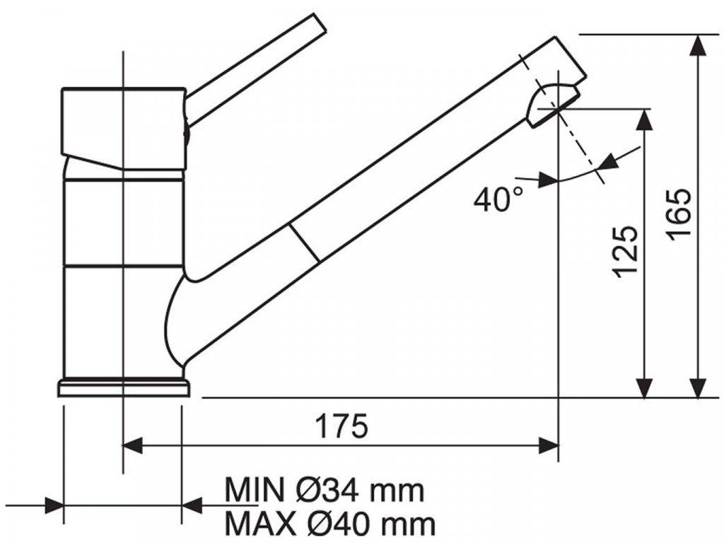 Dřezová baterie Sinks MIX 4000 P Metalblack