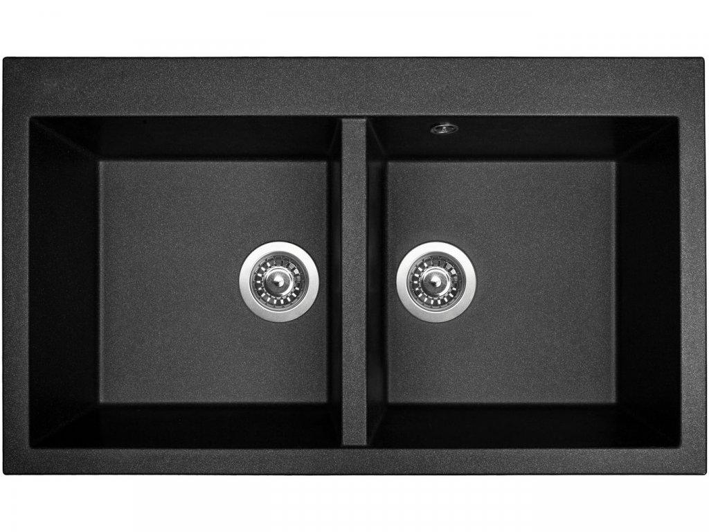 Granitový dřez Sinks AMANDA 860 DUO Metalblack
