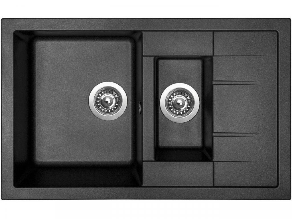 Granitový dřez Sinks CRYSTAL 780.1 Metalblack  + Čistící pasta Sinks na dřezy