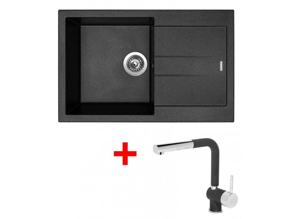 Set Sinks AMANDA 780 Metalblack+MIX 3P GR  + Čistící pasta Sinks na dřezy