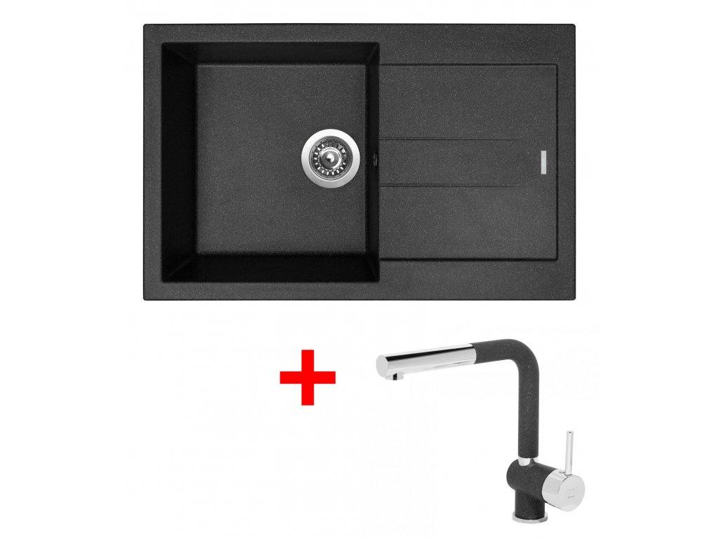 Set Sinks AMANDA 780 Granblack+MIX 3P GR  + Čistící pasta Sinks na dřezy