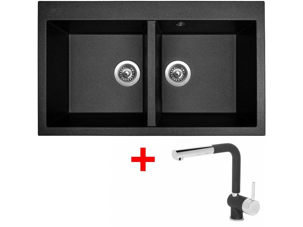 Sinks AMANDA 860 DUO Metalblack+MIX 3P GR  + Čistící pasta Sinks na dřezy