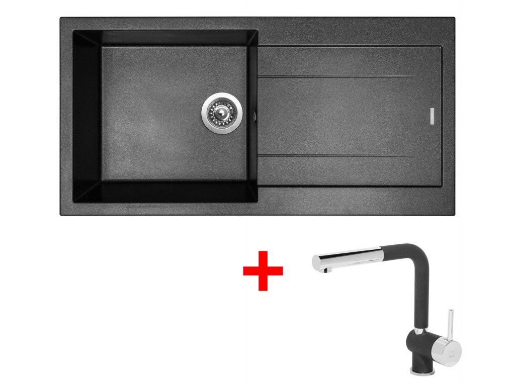 Sinks AMANDA 990 Metalblack+MIX 3P GR  + Čistící pasta Sinks na dřezy