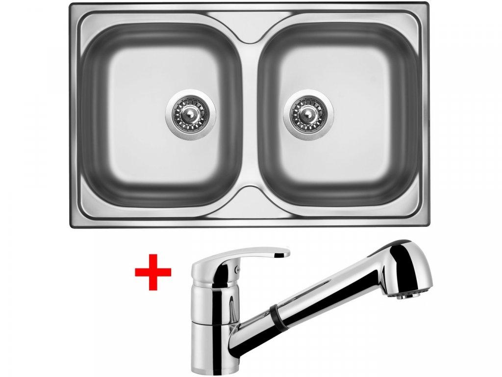 Nerezový dřez Sinks CLASSIC 800 DUO V+LEGENDA S  + Čistící pasta Sinks na dřezy