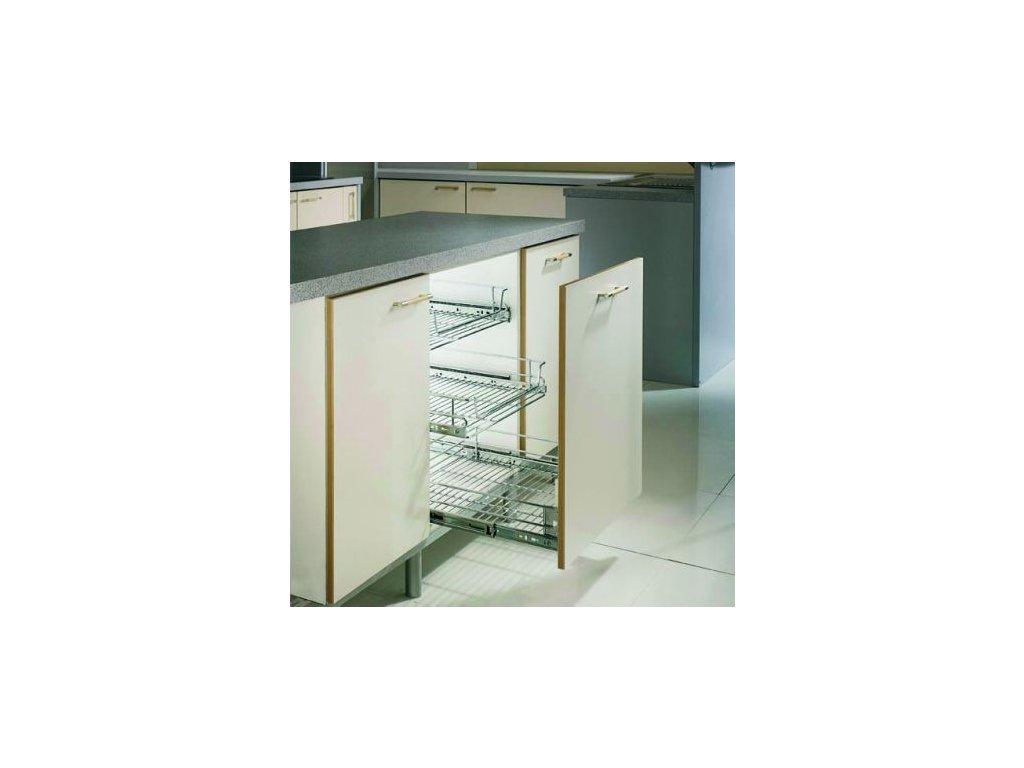 Čelní výsuvný koš pro skříň 400 mm + 2 ks výsuv Accuride a držáky dveří