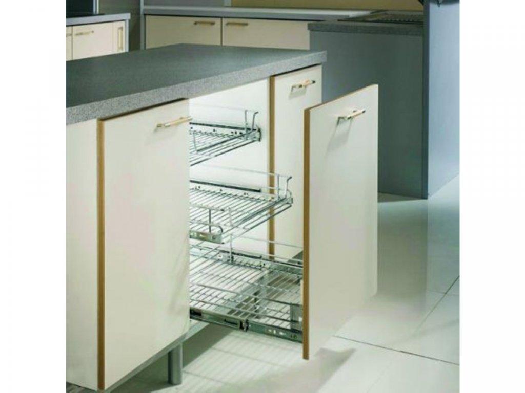 Čelní výsuvný koš pro skříň 900 mm + 2 ks výsuv Accuride a držáky dveří