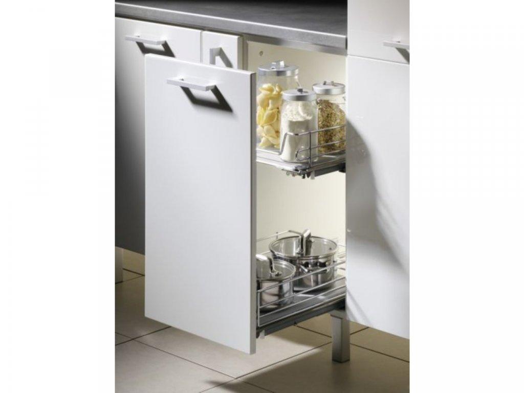 Čelní výsuvný koš pro skříň 400 mm, držáky dveří, pevné dno