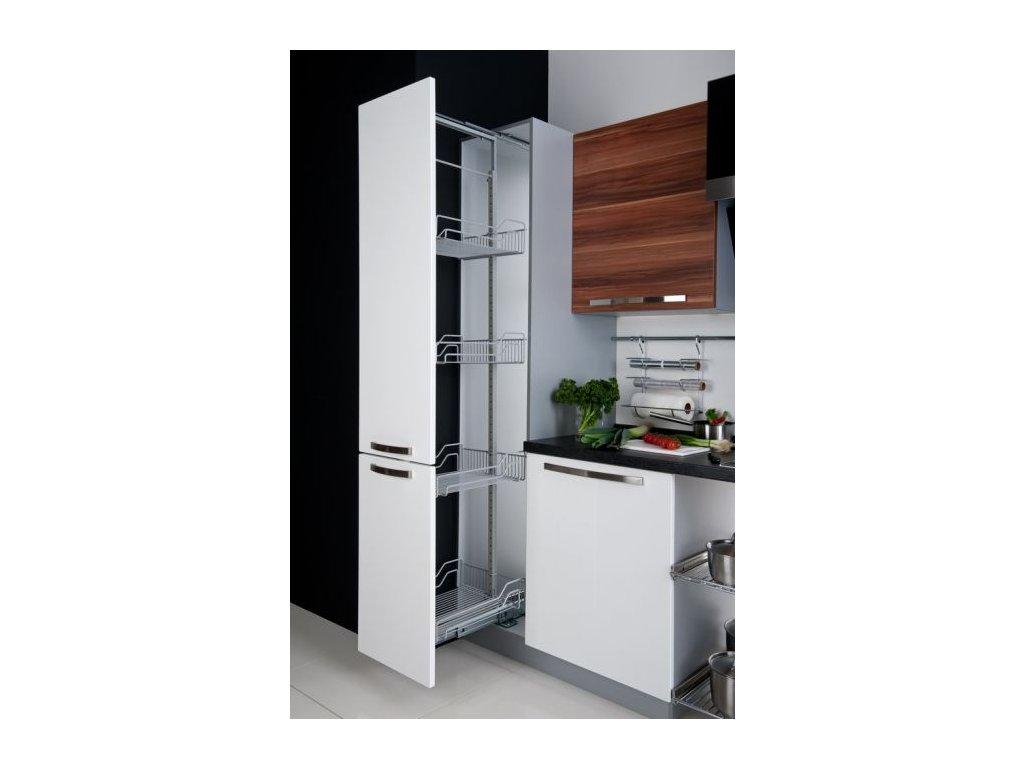 Potravinová skříň vysoká set s 5 koši šíře 400mm + výsuv Schock Metall s tlumením do 100kg