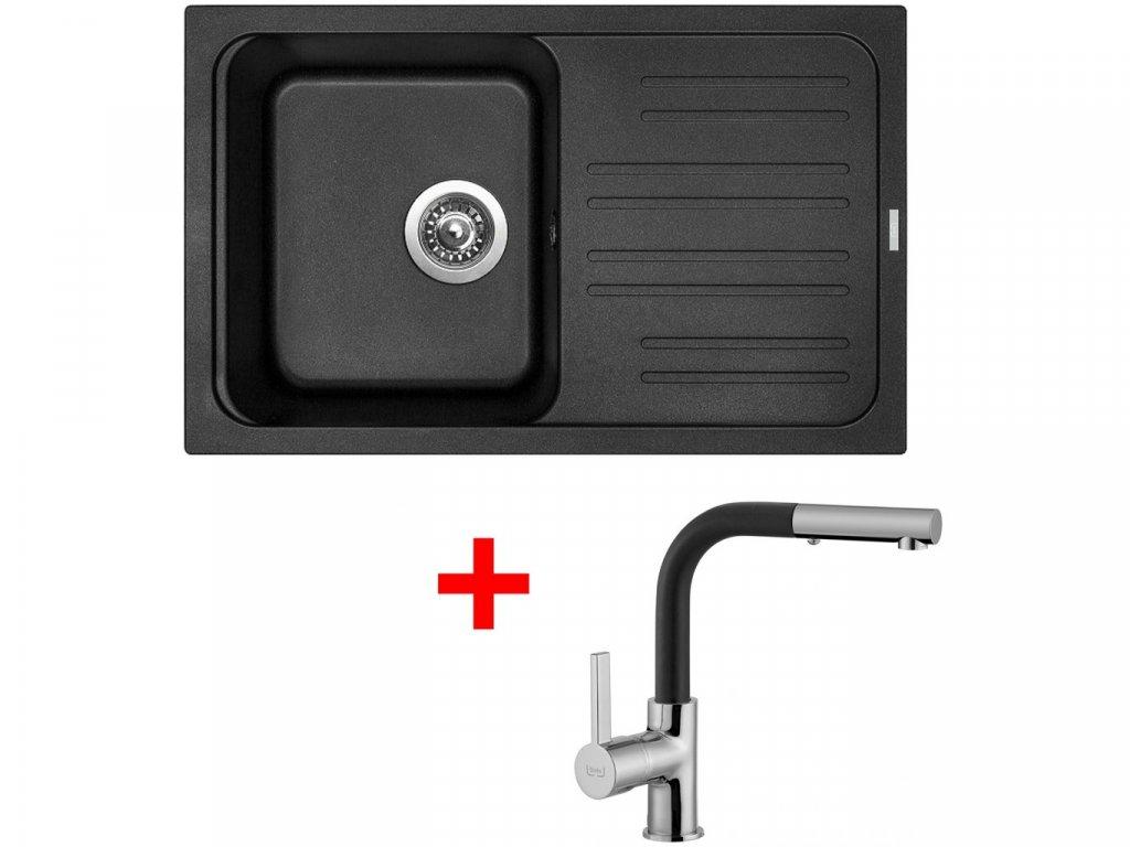 Set Sinks CLASSIC 740 Metalblack+ENIGMA S GR  + Čistící pasta Sinks na dřezy