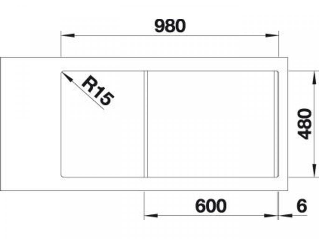 Nerezový dřez Blanco DINAS XL 6 S nerez kartáčovaný bez excentru