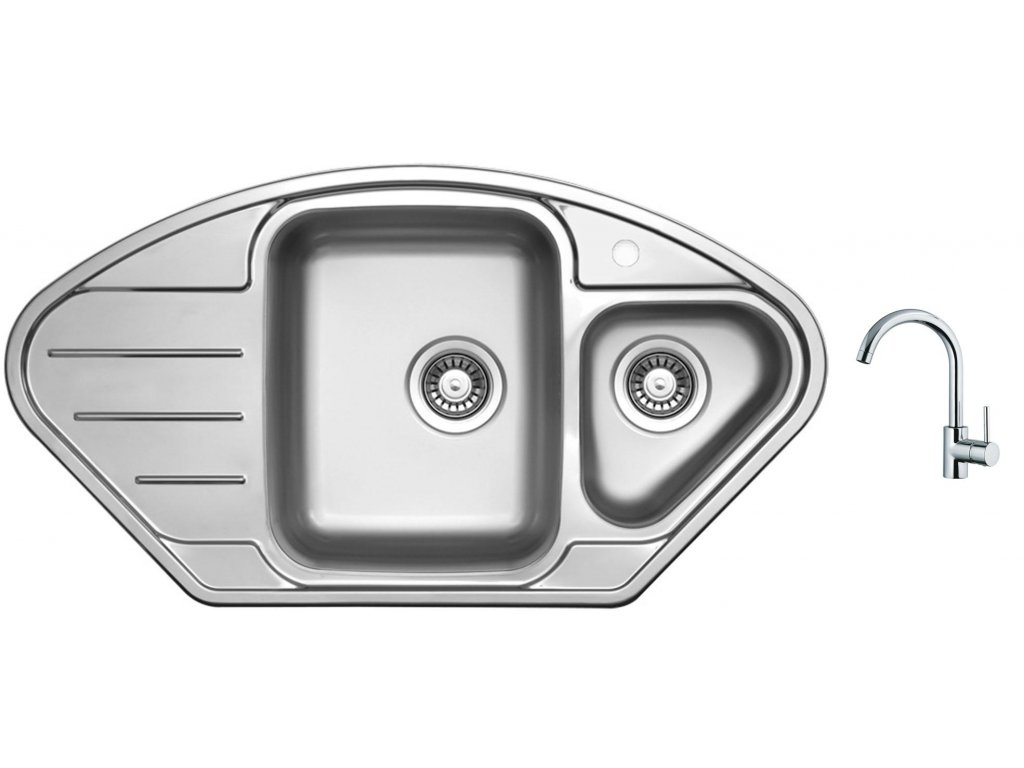Nerezový dřez Sinks LOTUS 945.1 V 0,8mm leštěný + Dřezová baterie Sinks MIX 35 chrom