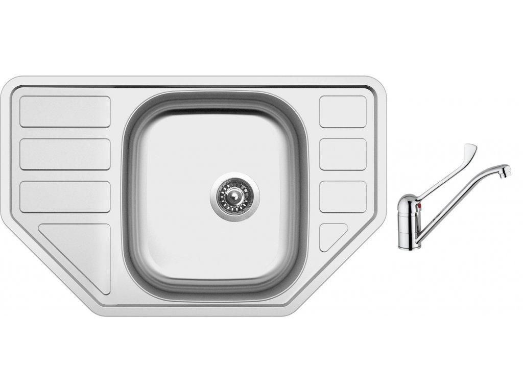 Nerezový dřez Sinks CORNO 770 V 0,6mm matný + Dřezová baterie Sinks CAPRI 4 MEDICAL chrom