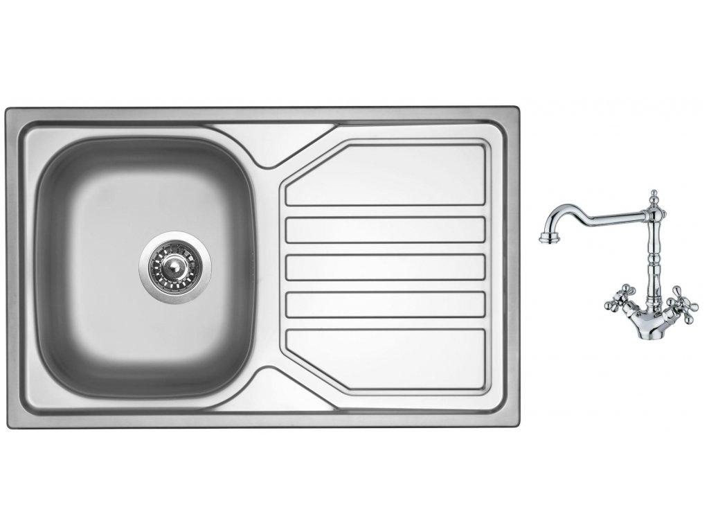 Nerezový dřez Sinks OKIO 800 V 0,7mm leštěný + Dřezová baterie Sinks RETRO 2000 lesklá