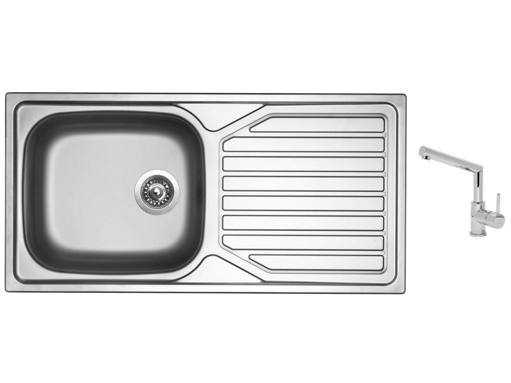 Nerezový dřez Sinks OKIO 1000 XXL V 0,6mm matný + Dřezová baterie Sinks MIX 350 P chrom