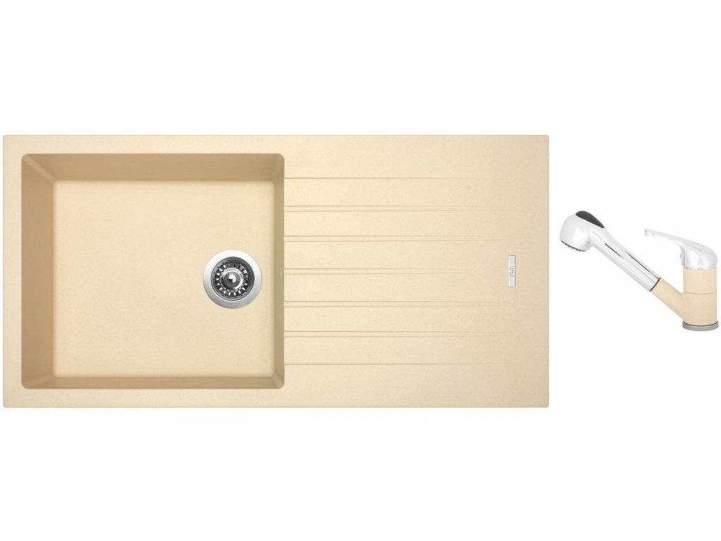 Granitový dřez Sinks PERFECTO 1000 Sahara + Dřezová baterie Sinks CAPRI 4 S Sahara