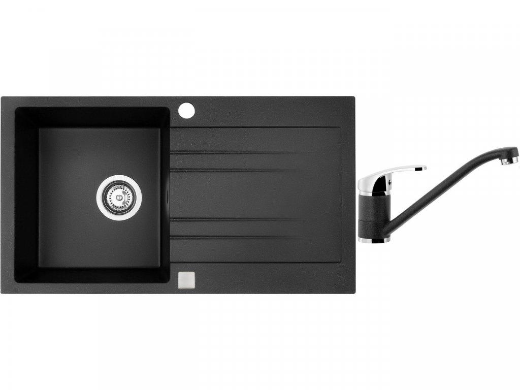 Granitový dřez Sinks RAPID 780 Granblack + Dřezová baterie Sinks Pronto Grandblack